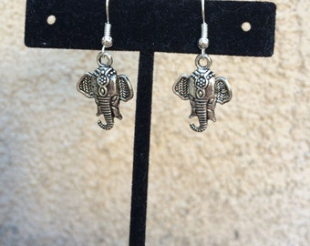 Detailed, decorated silver elephant earrings