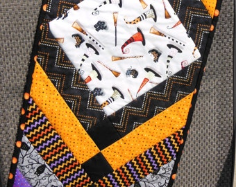 Halloween Table Runner/Witches Hats and Brooms