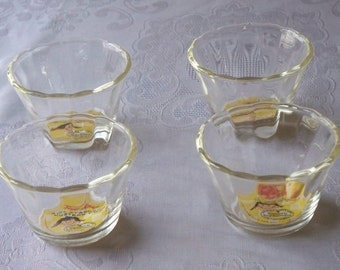 Fire King 5 Oz Custard Cups With Original Label Set Of Four