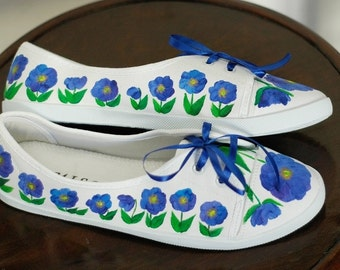 Hand-painted canvas shoes with meconopsis size 41