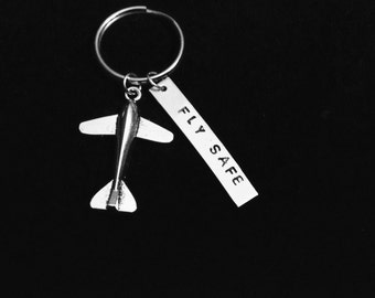 Fly Safe Travel Pilot Hand Stamped Keychain