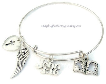 JOHN 3:16 Adjustable Wire charm bangle, Tibetan Silver charm Bracelet,One Size Fits Most