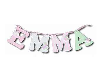 "pink and green letters for girls- wall letters for kids decor- 6"" wall letters- custom wall letters -custom name"