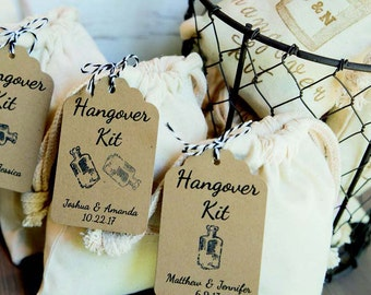 DIY Hangover/Survival Kit Tags & Bags. Personalized for Wedding, Bachelor/Bachelorette Party, Engagement, Birthday, Hen Do. Pick Color. 10