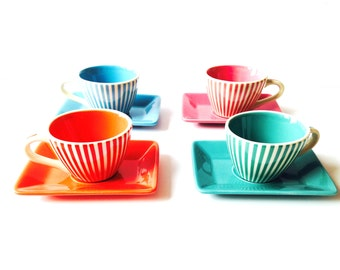 Teaset , teaware TUNIS -- Multicolored set of 4 coffee cups and saucers, striped, vintage ceramic by SophieLDesign