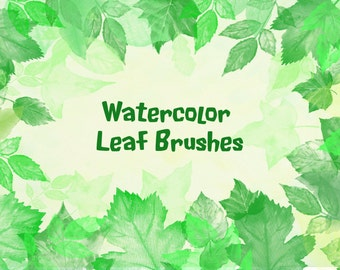 Photoshop brushes - Watercolor Leaves ABR Instant Download