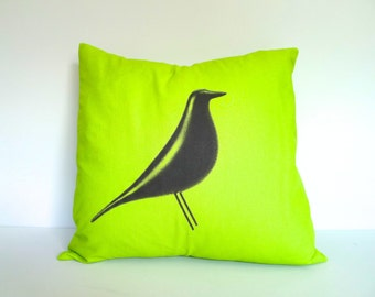 Eames House Bird Screen Printed Throw Pillow in Lime Green