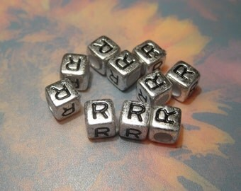 "50pcs Antique Silver Alphabet /Letter ""R"" Acrylic Cube Spacer Beads 6x6mm"