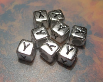 "23pcs Antique Silver Alphabet Letter ""Y"" Acrylic Cube Spacer Beads 6x6mm"