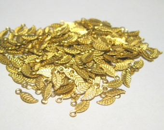 100pcs Raw Brass Small Leaf Charms Drops Earrings Component Small leaf charm