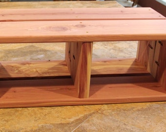 spa step stool, hot tub step stool, bath tub step stool, cedar step stool, wooden step stool, storage  step stool, outdoor step stool,