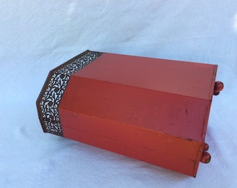 Vintage Red Metal Wastebaket