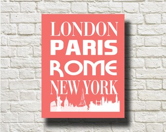London Paris Rome New York Printable Graphics Printable Instant Download BW060coral
