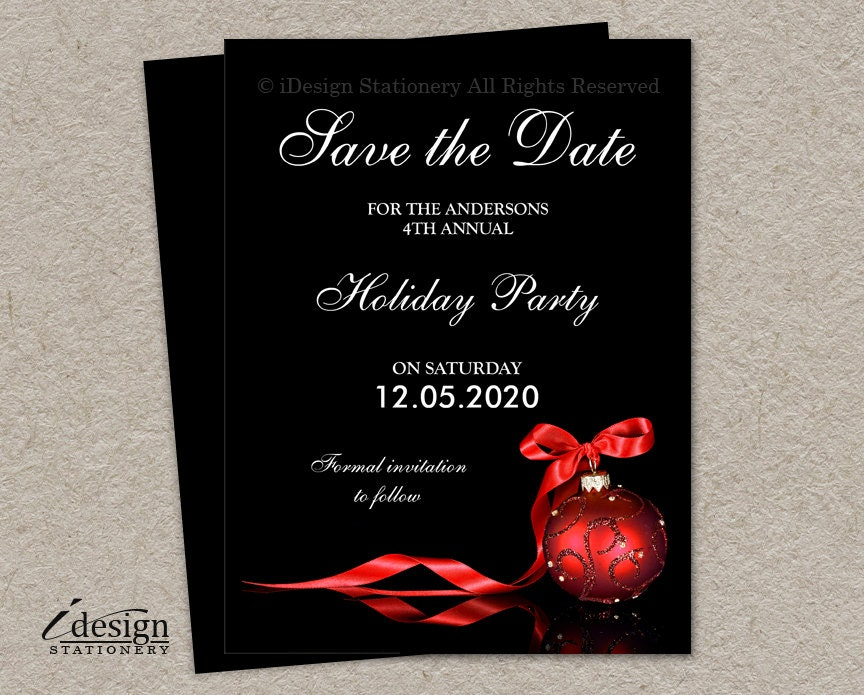 elegant christmas party save the date cards diy printable