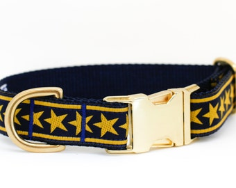 Dog Collar Gold Star and Navy in Brass