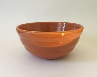 Vintage Bauer Mixing Bowl, Medium, Beehive Ringware, #18, Brown Pottery Bowl