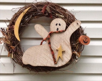 Primitive, Primitive wreath, Halloween Primitive wreath, Ghost Wreath, Primitive Ghost, OFG team, Primitive fall wreath, Country Wreath