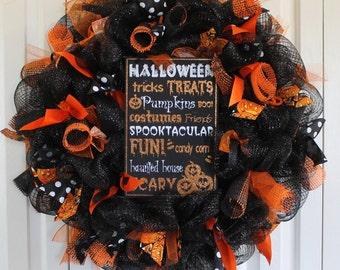 Halloween Deco Mesh Wreath. Large Halloween  Decoration. Halloween Decor. Halloween deco mesh.  Halloween wreath