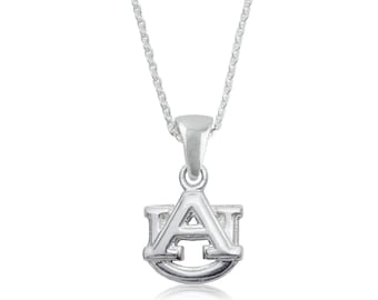 Auburn War Eagle Silver Necklace, War Eagle Tigers Silver Jewelry, AUU-6118