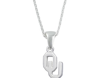Oklahoma Necklace, Sooners Silver Jewelry, UOK-6118