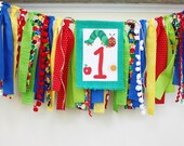 The Very Hungry Caterpillar Highchair Banner, Cake Smash Banner Photo Prop 1st Birthday Banner, Primary Colors Birthday High Chair I Am One