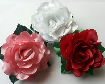 Kanzashi Rose Brooch or Hairclip. White, pink or red.