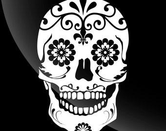 Sugar Skull Decal Sticker Single Color