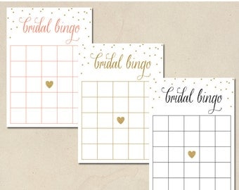 bridal bingo - bridal shower bingo - shower games - gold dots & heart - 3 different colors - printable instant download - DIY