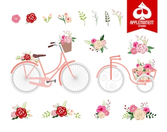 Flower bicycle Digital Clipart for Personal and Commercial Use