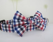 Check Dog Collar,Bow tie Dog Collar, removable bow tie, Wedding Dog Collar, adjustable dog collar(3R)