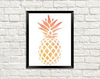 Orange Watercolor Pineapple Digital Print 8 x 10