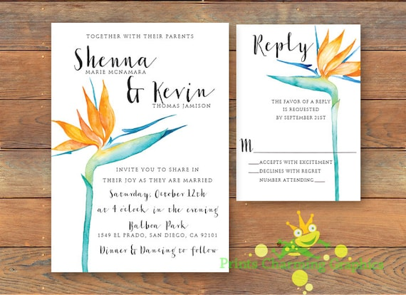 Bird Wedding Invitation: Bird Of Paradise Wedding Invitation By PrintsCharmingGRAFX