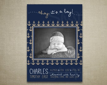 Ahoy It's A Boy Navy and Gold Birth Announcement - Nautical - Anchors - Welcome Aboard - Ocean - Modern - Classic