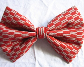 12cmx17cm Soft Fluffy Kimono Hair Bow - made with vintage silk Japanese kimono fabric