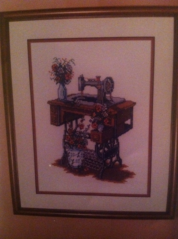 Sewing machine cross stitch kit kappie originals vintage