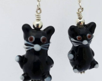 Black Cat Earrings - Lampwork Cat Earrings - Lucky Black Cat - Black Feline Jewelry - Gifts for Cat Lovers - Cat Jewelry - Black Cat Beads