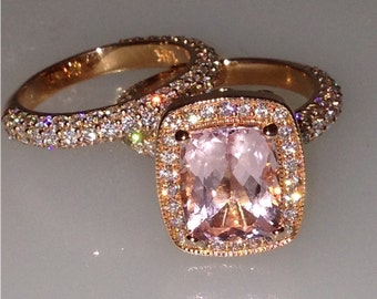 Morganite Wedding Set Cushion Cut Pink Gem Quality Morganite Ring 2.44ct Natural Diamonds Butterfly Ring Unique halo Pristine Custom Rings