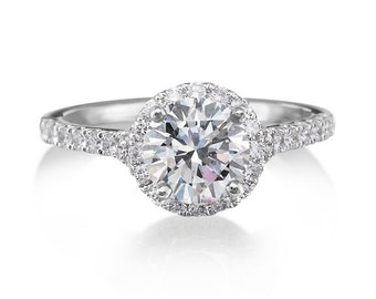 Moissanite & Diamond Round Halo Engagement Ring Round 1ct Forever One Moissanite Halo Engagement Ring 18k Gold  Wedding Ring