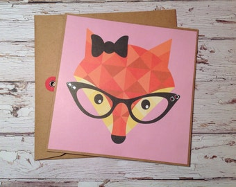Fox card, fox greeting card, Handmade fox card, card with fox, any occasion card, handmade blank card,