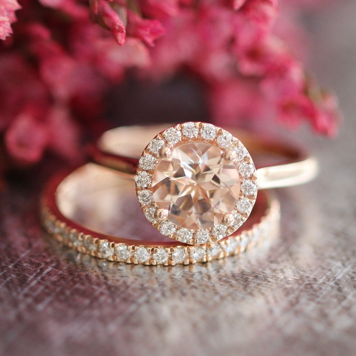 Morganite Wedding Ring Set Rose Gold Halo Diamond Engagement