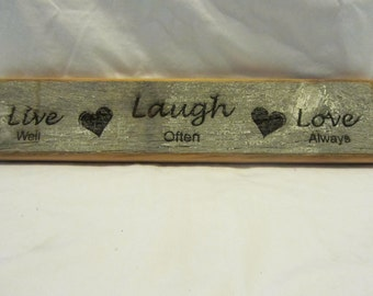 Rustic Reclaimed Barn Wood Sign - Live, Laugh, Love