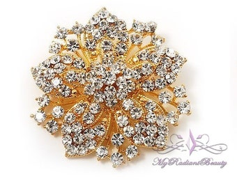 Wedding Brooch, Bridal Brooch, Vintage Gold Brooch with the look of Victorian made of Rhinestone, Rhinestone Brooch, Crystal brooch BR0007G