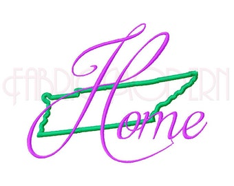 Tennessee Home Embroidery Design, multiple sizes, larger sizes are applique'