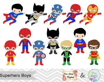 24 Superhero Boys Digital Clipart, Superhero Clip Art, Boy Superhero Clip Art, Little Boy Super Hero Clipart, Super Hero Clip Art, 00190