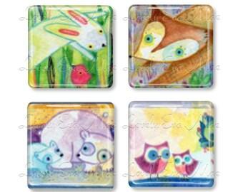 Set of 4, Lauren Alexander, Glass Magnets, Strong Magnets, Fridge Magnets, Animal Magnets, Watercolor, Fox, Owl, Polar Bear, Bunny Rabbit