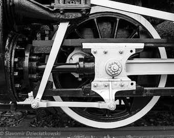 Old Locomotive Photograph, Train Wheel Detail, Vintage Rail, Black and White Photo, Fine Art Photograph for Your Home and Office Wall Decor