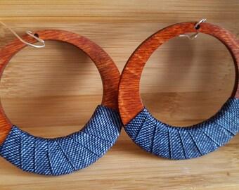 Denimwear: Large Wood Hoop Earrings . Denim earrings.  Denim hoops. Large wood earrings.