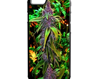 Purple Kush Weed Plant iPhone Galaxy Note LG HTC Hybrid Rubber Protective Case Bud 420