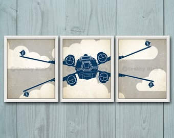 8x10 (3) STAR WARS NURSERY Prints - Nursery Art, Children's Art, Star Wars Art, Star Wars Prints - X-Wing Starfighter