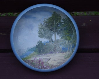 Pretty Vintage Hand Painted Local Artist Created Wood Bowl